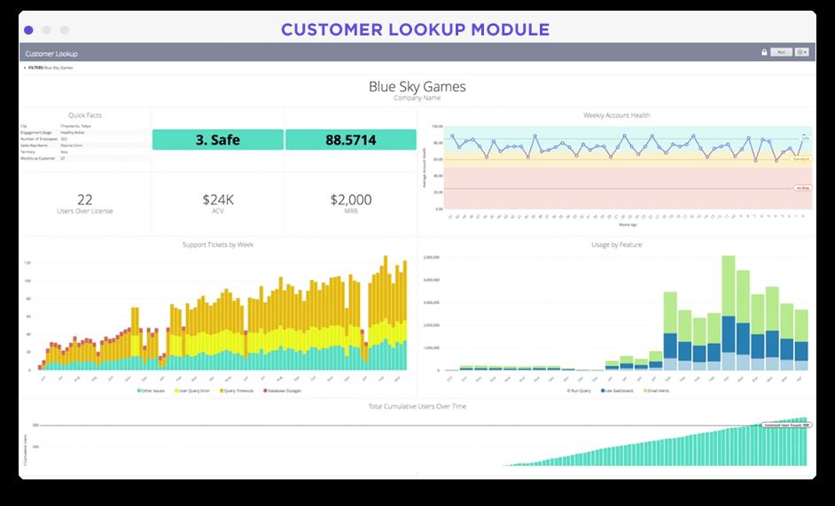 Customer account specific metrics dashboard in Looker screenshot