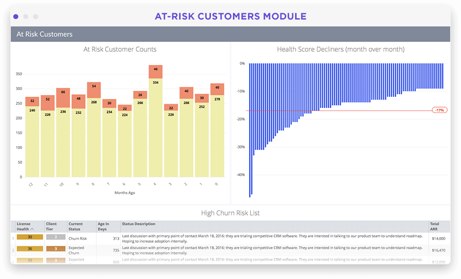 Customer loss & at-risk overview dashboard in Looker screenshot